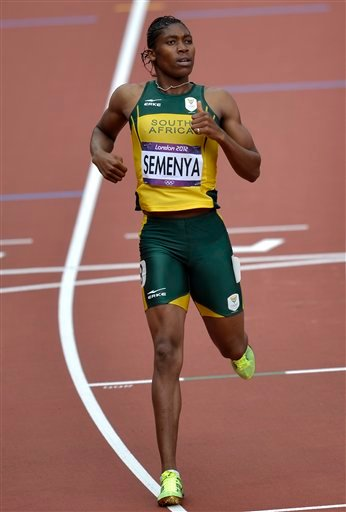 South Africa's Caster Semenya competes in a women's 800-meter heat during the athletics in the Olympic Stadium at the 2012 Summer Olympics, London, Wednesday, Aug. 8, 2012.