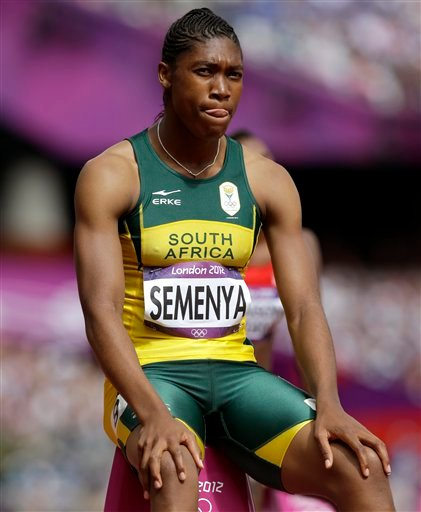South Africa's Caster Semenya waits to start in a women's 800-meter heat during the athletics in the Olympic Stadium at the 2012 Summer Olympics, London, Wednesday, Aug. 8, 2012.