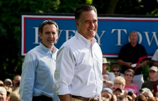 In this June 16, 2012, photo, former Minnesota Gov. Tim Pawlenty, left, stands with Republican presidential candidate, former Massachusetts Gov. Mitt Romney during a campaign stop at campaign stop at Cornwall Iron Furnace in Cornwall, Penn. (AP Photo)