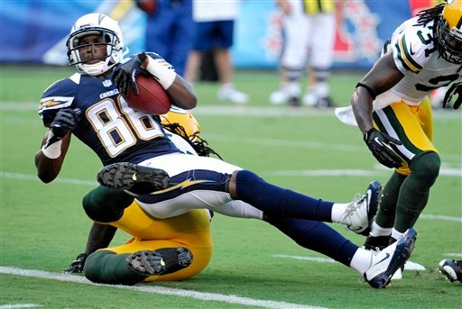 San Diego Chargers wide receiver Vincent Brown (86) scores a touchdown against the Green Bay Packers during the first half of an NFL preseason football game Thursday, Aug. 9, 2012, in San Diego. (AP Photo/Denis Poroy)