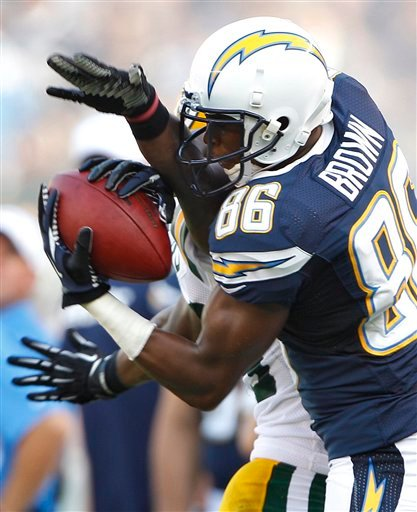 San Diego Chargers wide receiver Vincent Brown (86) pulls in a pass against Green Bay Packers cornerback Casey Hayward during the first half of an NFL preseason football game Thursday, Aug. 9, 2012, in San Diego.