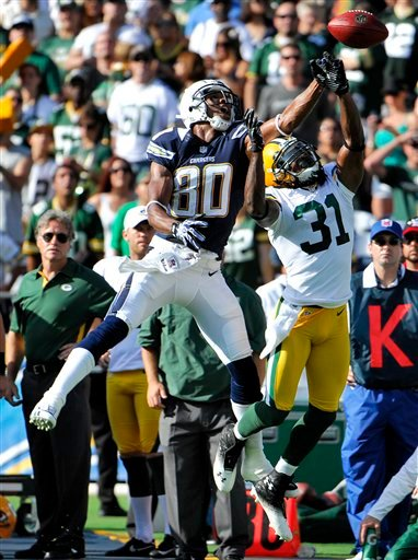Green Bay Packers defensive back Davon House (31) breaks up a pass intended for San Diego Chargers wide receiver Malcom Floyd (80) during the first half of an NFL preseason football game, Thursday, Aug. 9, 2012, in San Diego.