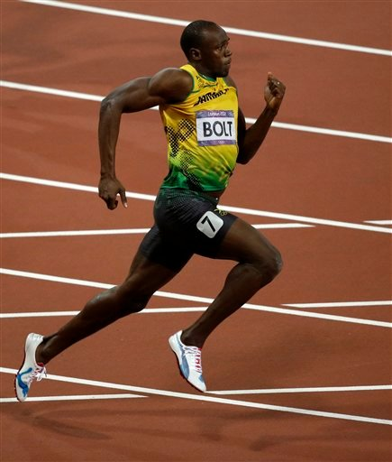Jamaica's Usain Bolt competes in the men's 200-meter final during the athletics in the Olympic Park during the 2012 Summer Olympics, Thursday, Aug. 9, 2012, in London.