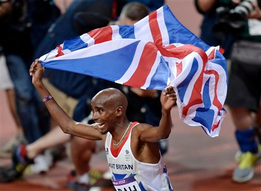 © In this Saturday, Aug. 4, 2012 photo, Britain's Mo Farah celebrates winning gold in the men's 10,000-meter final during the athletics in the Olympic Stadium at the 2012 Summer Olympics, London.