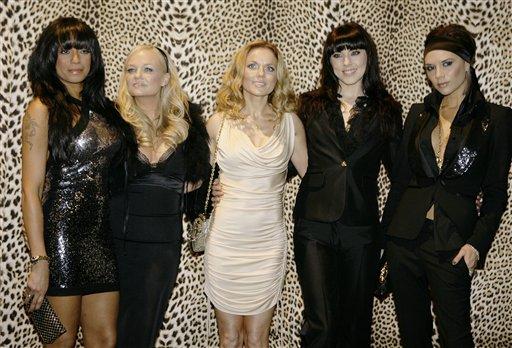 © FILE- In this Jan. 14, 2008 file photo, the Spice Girls, from left, Melanie Brown, Emma Bunton, Geri Halliwell Melanie Chishlom and Victoria Beckham.