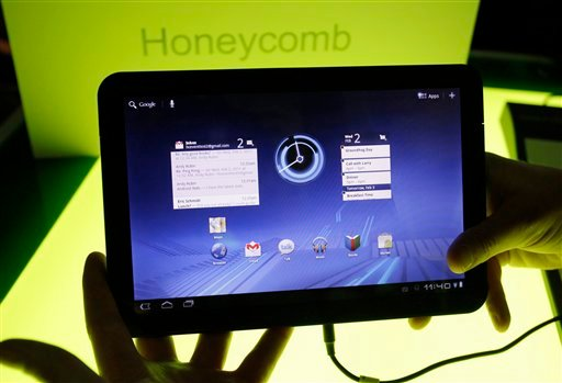 In this Feb. 2, 2011 file photo, a Motorola Mobility Xoom tablet is shown at Google headquarters in Mountain View, Calif. (AP Photo/Paul Sakuma, File)