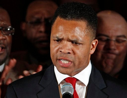 FILE - In this March 20, 2012 file photo, Rep. Jesse Jackson Jr., D-Ill. speaks in Chicago. The Mayo Clinic in Rochester, Minn., said Monday, Aug. 13, 2012, that Jackson is being treated for bipolar disorder. (AP Photo/M. Spencer Green, File)