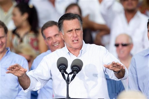 © Republican presidential candidate, former Massachusetts Gov. Mitt Romney addresses supporters during a campaign stop in Miami, Monday, Aug. 13, 2012.
