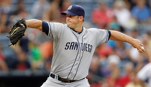 San Diego Padres starting pitcher Eric Stults (53) works in the first inning of a baseball game against the Atlanta Braves in Atlanta, Monday, Aug. 13, 2012. (AP Photo/John Bazemore)