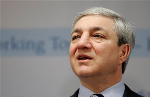 In this March 7, 2007, file photo, Penn State University president Graham Spanier speaks during a news conference at the Penn State Milton S. Hershey Medical Center in Hershey, Pa. (AP Photo/Carolyn Kaster, File)