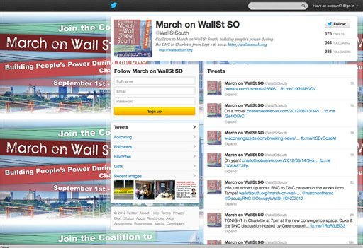 © In this screen shot provided by March on WallSt SO, the protestor's Twitter account is seen. Social media is making the smoke-filled rooms of political conventions a thing of the past.