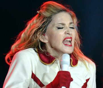  In this picture taken Aug. 18. 2012, US singer Madonna performs one stage during a concert in Zurich, Switzerland.