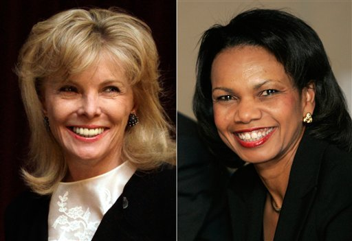 At left, in a March 24, 2011 file photo, Darla Moore. At right, in a Jan. 24, 2008 file photo, U.S. Secretary of State Condoleeza Rice.