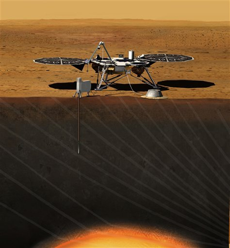This image provided by NASA shows an artist rendition of the proposed InSight (Interior exploration using Seismic Investigations, Geodesy and Heat Transport) Lander. (AP Photo/NASA)