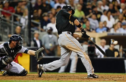 Pittsburgh Pirates' Garrett Jones slams a two run homer in the ninth inning to tie the Pirates with the San Diego Padres during a baseball game Tuesday, Aug. 21, 2012 in San Diego. It was Jones' second home run of the game. (AP Photo/Lenny Ignelzi)