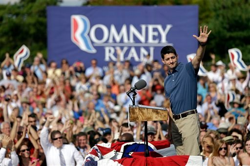 Republican vice presidential candidate, Rep. Paul Ryan, R-Wis., waves during a campaign rally at the American Helicopter Museum & Education Center, Tuesday, Aug. 21, 2012, in West Chester, Pa. (AP Photo/Matt Rourke)