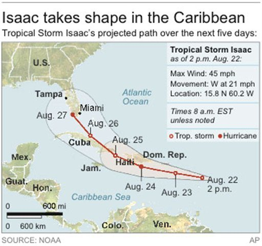 Map locates Tropical Storm Isaac and its projected path for the next five days.