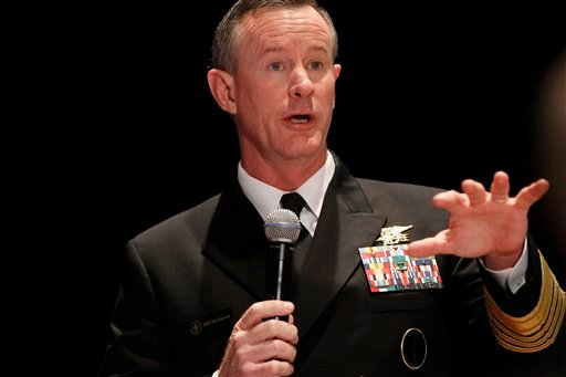Navy Adm. Bill McRaven, commander of the U.S. Special Operations Command, addresses the National Defense Industrial Association (NDIA), in Washington, in this Feb. 7, 2012 file photo.