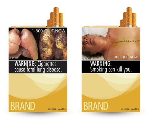 FILE - This file combination photo made from file images provided by the U.S. Food and Drug Administration shows two of nine cigarette warning labels from the FDA. (AP Photo/U.S. Food and Drug Administration, File)