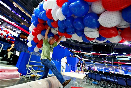 Ron Darling and other riggers load nets full of balloons for the Republican National Convention festivities inside the Tampa Bay Times Forum, Friday, Aug. 24, 2012, in Tampa, Fla. (AP Photo/J. Scott Applewhite)