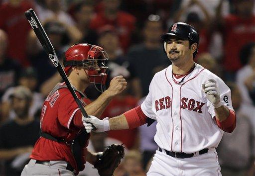 © Boston Red Sox's Adrian Gonzalez, at Fenway Park in Boston, Thursday, Aug. 23, 2012.