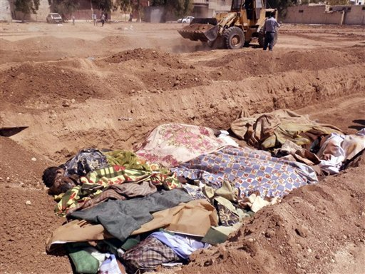 © This citizen journalism image provided by Shaam News Network SNN, taken on Sunday, Aug. 26, 2012, purports to show people killed by shabiha, pro-government militiamen, being buried in a mass grave in Daraya, Syria.