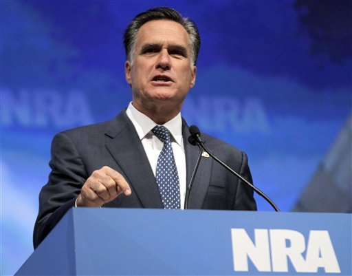 In this April 13, 2012 file photo, Republican presidential candidate, former Massachusetts Gov. Mitt Romney speaks at the National Rifle Association convention in St. Louis. (AP Photo/Michael Conroy, File)