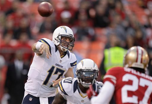 San Diego Chargers quarterback Philip Rivers (17) passes against the San Francisco 49ers during the first quarter of an NFL preseason football game in San Francisco, Thursday, Aug. 30, 2012.