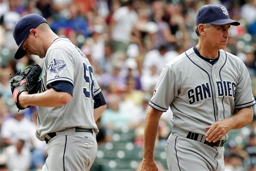 San Diego Padres pitcher Brad Brach (58) is relieved by manager Bud Black (20) during the eighth inning of a baseball game against the Colorado Rockies, Sunday, Sept. 2, 2012, in Denver. The Rockies won 11-10. (AP Photo/Barry Gutierrez)
