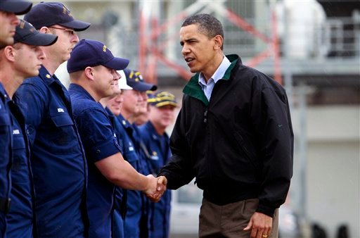 In this May 2, 2010, file photo, President Barack Obama meets coast guard first responders in Venice, La., as he visits the Gulf Coast region affected by the BP (British Petroleum) oil well spill. (AP Photo/Charles Dharapak, File)