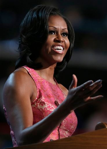 First Lady Michelle Obama addresses the Democratic National Convention in Charlotte, N.C., on Tuesday, Sept. 4, 2012. (AP Photo/Jae C. Hong)
