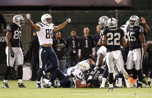  an Diego Chargers tight end Dante Rosario (88) celebrates after blocking a punt by Oakland Raiders punter Shane Lechler, that was recovered by the Chargers, during the second half of an NFL football game in Oakland, Calif., Monday, Sept. 10, 2012.