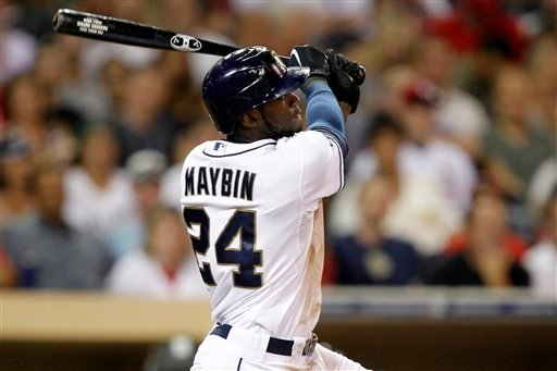 © San Diego Padres' Cameron Maybin (24) hits a two-run home run against the St. Louis Cardinals during the third inning of their baseball game in San Diego, Calif., Monday, Sept. 10, 2012. (AP Photo/Alex Gallardo)