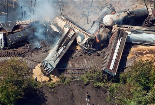 This July 11, 2012 aerial file photo, a freight train is seen after an early morning derailment in Columbus, Ohio. (AP Photo/The Columbus Dispatch, Eamon Queeney)