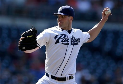 San Diego Padres starting pitcher Clayton Richard throws against the St. Louis Cardinals during the first inning of their baseball game, Wednesday, Sept. 12, 2012, in San Diego. (AP Photo/Gregory Bull)