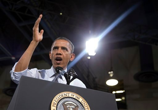 President Barack Obama speaks during a campaign event at the Cashman Center, Wednesday, Sept. 12, 2012, in Las Vegas. (AP Photo/Carolyn Kaster)
