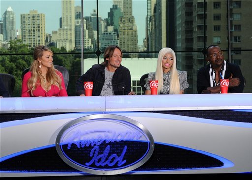 This image released by Fox shows the new judges for the singing competition series, &quot;American Idol,&quot; from left, Mariah Carey, Keith Urban, Nicki Minaj and Randy Jackson during a news conference in New York on Monday Sept. 17, 2012. (AP Photo)