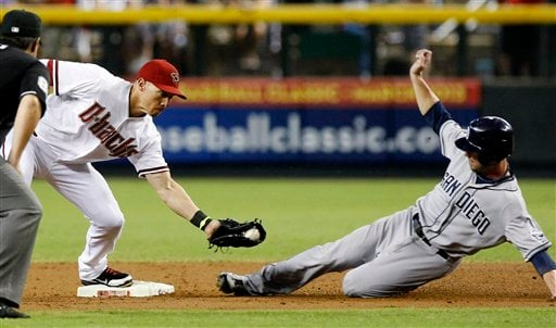 Arizona Diamondbacks shortstop Cody Ransom, left, tags out San Diego Padres' Clayton Richard (33) at second base in the second inning of a baseball game, Thursday, Sept. 20, 2012, in Phoenix.