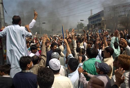 Pakistani protesters shout anti-U.S. slogans at a rally in Rawalpindi, Pakistan on Friday, Sept. 21, 2012.