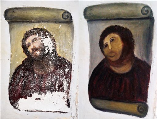© File - In this combination of two undated handout photos made available by the Centro de Estudios Borjanos, the 20th century Ecce Homo-style fresco of Christ , left and the 'restored' version, at right.