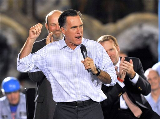 Republican presidential candidate, former Massachusetts Gov. Mitt Romney speaks during a campaign stop at American Spring Wire, Wednesday, Sept. 26, 2012, in Bedford Heights, Ohio. (AP Photo/ David Richard)