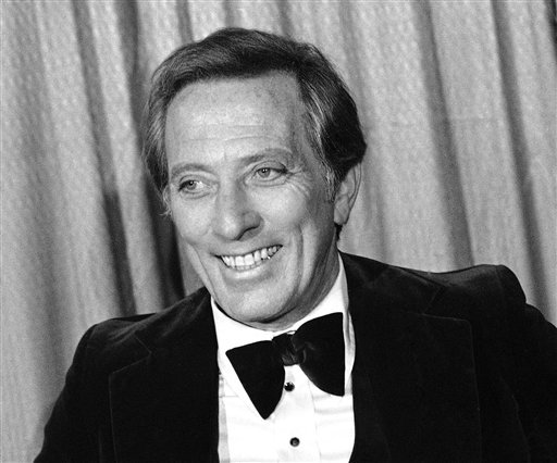 FILE - This Feb. 23, 1978 file photo shows performer and host Andy Williams at the Grammy Awards in Los Angeles. (AP Photo/Lennox McLendon, file)