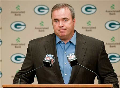Green Bay Packers coach Mike McCarthy addresses reporters' questions about a controversial touchdown call on Monday Night Football during a press conference in Green Bay, Wis., on Tuesday, Sept. 25, 2012. (AP Photo)