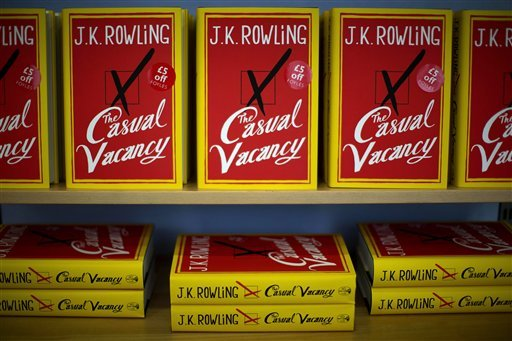 Copies of the &quot;The Casual Vacancy&quot; by author J.K. Rowling are displayed on shelves at a book store in London, Thursday, Sept. 27, 2012.