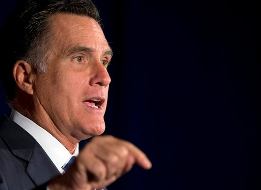 In this photo taken Sept. 27, 2012, Republican presidential candidate, former Massachusetts Gov. Mitt Romney speaks in Springfield, Va. (AP Photo/ Evan Vucci)