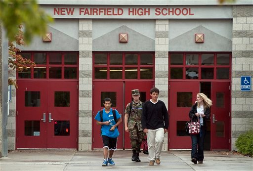 © Students leave New Fairfield High School where in New Fairfield, Conn., Friday, Sept. 28, 2012.