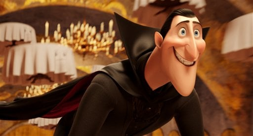 """© This image released by Sony Pictures shows Dracula, voiced by Adam Sandler, in a scene from """"Hotel Transylvania."""" (AP Photo/Sony Pictures Animation)"""
