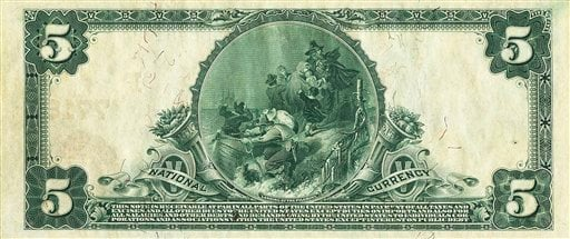 In this Sept. 2012 photo provided by Heritage Auctions, the back of a 1905 $5 bill is shown.