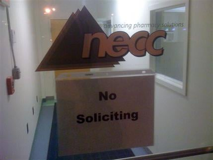 A sign on the door to the New England Compounding Center requests no soliciting at the Framingham, Mass. company, Wednesday Oct. 3, 2012. (AP Photo/Bob Salsberg)