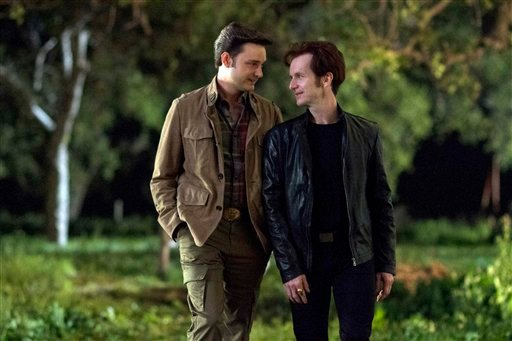 """This image released by HBO shows Michael McMillian, left, and Denis O'Hare in a scene from """"True Blood."""" (AP Photo/HBO, John P. Johnson)"""